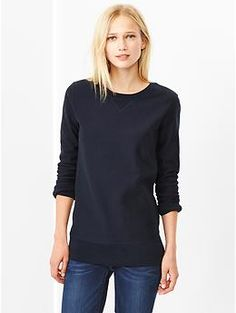 Rib-panel sweatshirt tunic. I live in jeans and sweatshirts/sweaters on the weekends.