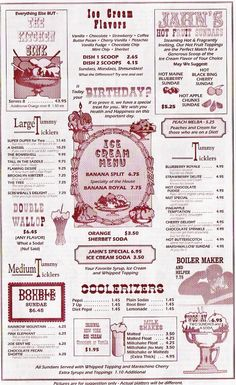 JAHNS Ice Cream Parlor Menu <>< wow, WAAAAAYYYY back... before the one in Lynbrook, I remember!!