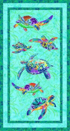 GARDEN PARTY TURTLE Fabric Panel Cut Sew Quilting Mom /& Baby