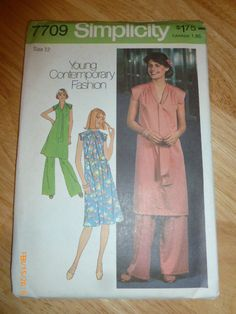 7709 Simplicity Size 12 Pattern Young Contemporary Fashion Misses' Pullover Dress, Tunic Pants Vintage 1976 Unct by 2xisnice on Etsy