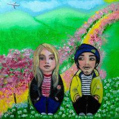 Geordie+Miki on the Yellow Brick Road Artprint Yellow Brick Road, Art Prints, Artwork, Painting, Design, Art Impressions, Work Of Art, Auguste Rodin Artwork, Painting Art