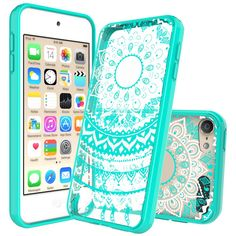 Anoke Mandala Flower Acrylic Hard Rubber TPU Hybrid Bumper Clear Case with HD Screen Protector for iPod Touch 6th / 5th Generation - CH Mint