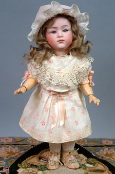 """12.5"""" Gebruder Heubach 6970 Pouty Character Child with Pink Bisque & Closed-mouth"""