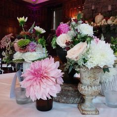 Centerpieces by Bloom Room for another gorgeous wedding at Homewood, Asheville Wedding Venue #ashevillewedding #homewoodwedding #ashevilleweddingvenue