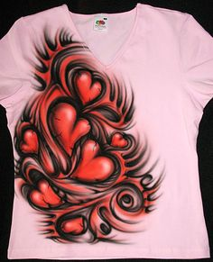 5feeb81d52fb6b Shirt with airbrushed hearts OOAK by BelyonaForYou on Etsy