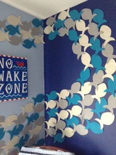 I created a fish stencil and cut out a bunch of fish from ivory, gray, and blue . I created a fish stencil and cut out a bunch of fish from ivory, gray, and blue felt. I then attach Under The Sea Theme, Under The Sea Party, Fish Stencil, Submerged Vbs, Deco Nature, Vbs 2016, Vbs Crafts, Vacation Bible School, Ocean Themes