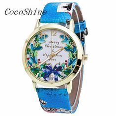 >> Click to Buy << High Quality ZM-856 Free shipping & Wholesale Fashion Men Women New Christmas Pattern Leather Band Analog Quartz Vogue Watches #Affiliate