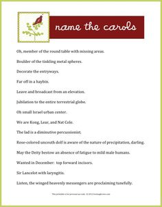 Need a last minute game for the family gathering? Name the Carols, a holiday game and printable with livelaughrowe.com #printable #christmas #carols