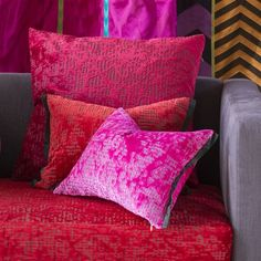 Designers Guild Boratti in cranberry, fuchsia and scarlet