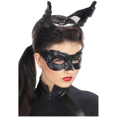 Deluxe Catwoman Mask ($20) ❤ liked on Polyvore featuring costumes, halloween costumes, batman dark knight rises costume, dark knight rises catwoman costume, deluxe catwoman costume, black costume and catwoman halloween costume