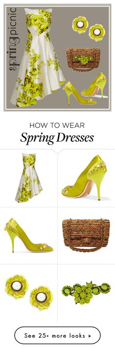 """Spring Blessings"" by engleann on Polyvore featuring Lela Rose, Oscar de la Renta, Chanel and Miriam Haskell"