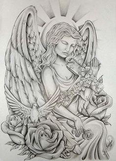 Angel tattoo stencils
