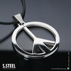 Stainless Steel Peace Sign Symbol Pendant & Chain S 280