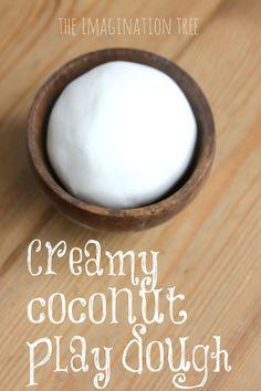 Creamy Coconut Play Dough Recipe Ingredients needed: 1 cup cornflour (cornstarch) 5 tbsps coconut hair conditioner