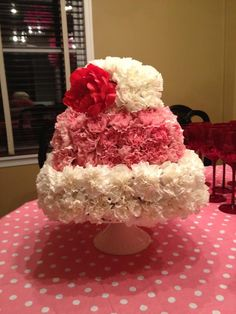 Fresh Flower Cake! Pink and White Flowers with Red Flower Accent. Affordable decor! Only $55. (doesn't include cake stand) Choose any Color you'd like. www.lovephilanthr...