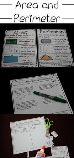 Area and Perimeter Anchor Charts and practice pages! Love the games in this packet too! Great for math centers when teaching perimeter and area! Maths Games Ks3, Math Activities, Maths Resources, Math Lesson Plans, Math Lessons, Math Tips, Math Strategies, Math Tutor, Teaching Math