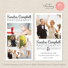 Photography Business Card Template Vertical by StudioStrawberry