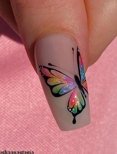 Cute Pink Nails, Cute Nail Art, Beautiful Nail Art, Pretty Nails, Butterfly Nail Designs, Butterfly Nail Art, Gel Nail Designs, Almond Nail Art, Stiletto Nail Art