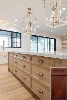 When to get - oak cabinets with white shiplap backsplash.  #oakkitchencabinets #kitchenisland Home Luxury, Luxury Homes, Luxury Interior Design, Home Design, White Oak Kitchen, Wooden Kitchen, Distressed Kitchen, Oak Kitchen Cabinets, Island Kitchen