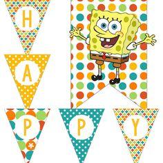Sponge Bob SpongeBob Inspired Birthday Party Decorations Pack Digital Download DIY Printable