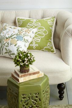 Like the first signs of spring, pops of green in your living room are full of life and hope.