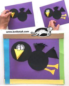 Kunst im Vorschulalter Crow . Crow Art, Raven Art, Preschool Art Activities, Art Therapy Activities, Origami Ball, Art Therapy Projects, Art Projects, Paper Crafts For Kids, Paper Crafting