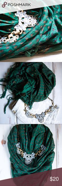 ✨🆕UO Emerald Green Silky Scarf✨ Item description: this scarf is perfect for all seasons, dressed up or dressed down, this is a must have! Beautiful pattern in emerald green and gold and tassels on all edges.  **Shorts are also for sale in my closet.**  Fit: n/a  Condition: gently worn, great condition  Major defects/damage: none  Bundle and S A V E!! I'd be happy to put together a personalized listing for you! 15% off 2 items 20% off 3 or more items  Sorry, no trades. Urban Outfitters…