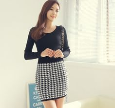 Fashion Plover stitching round neck long sleeve Wool Casual Dresses (Same,as,photo) Casual Dresses from stylishplus.com