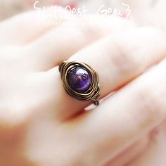 Amethyst Boho Ring wire wrapped ring boho jewelry by littlestgem