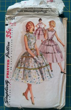 Vintage 1950s Sewing Pattern Simplicity 1564 Dress Full Skirt  Mad Men Retro Rockabilly Teen Prom Young Women's Fashion 29 Bust. $7.50, via Etsy.