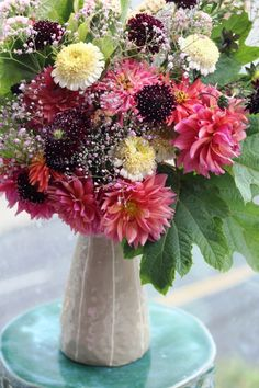 It's so hard to believe we have arrived at Week but the flowers tell us it is so. Much is blooming early here in the Pacific Northwest. The flower farmers report that their crops are expl… Flower Farmer, Gouache, Dahlia, Design Projects, Floral Arrangements, Florals, Glass Vase, Floral Design, Bloom