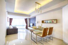 Desain interior ruang makan apartemen - Suasana yang sejuk dengan warna furniture dan pencahayaan yang menyatu dengan alam dimaksudkan agar penghuni merasa nyaman dan tenang setelah melakukan aktivitas di luar
