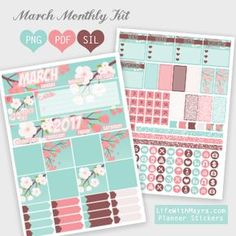 Free Printable March Monthly Planner Sticker Kit {PDF, PNG and Silhouette files} from lifewithmayra