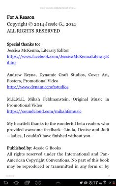 Special thanks to: Jessica McKenna, Andrew Reyna, Mikah Feldmanstein, and my wonderful beta readers—Linda, Denise & Jodi :)