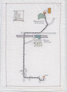 Memory map  of a route in St. Albans. Stitched map illustration onto white linen fabric. By A bobbins tale, via Flickr