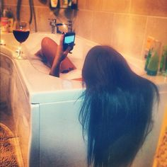 Now that's the way to soak! Hair Cute, Curly Hair Styles, Natural Hair Styles, Girls World, Thats The Way, Long Hair Cuts, About Hair, Me Time, Dark Hair