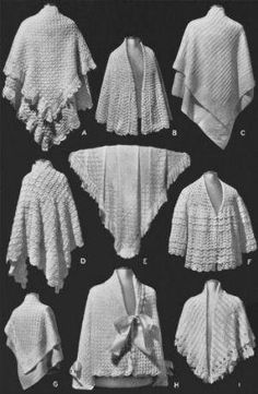Shawls Bed Jackets Vintage Knitting Crochet Patterns - KarensVariety.com