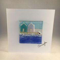 Fused Glass Greeting Card Handmade Beach Huts by WarmGlassFusion
