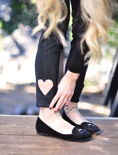 DIY Cut-out Heart Jeans