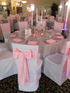 Pink Sashes - Pink and White Wedding #GraceBallroom #valleybrookweddings #valleybrookcountryclub