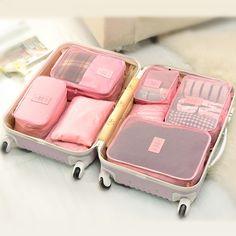 6 unids/set Moda Doble Cremallera Impermeable de Poliéster Hombres y Mujeres Bolsas de Viaje Equipaje embalaje cubos