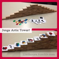 I would use a Jenga tower for articulation therapy. I would place cards containing the phoneme (ex: /k/ on each level and use a token (or pennies, for example) to track the client's progress. Once she reaches the top, she can draw/build something out of playdough/etc. (hopefully something containing the targeted phoneme). :)  http://1260hours.tumblr.com/post/31615013894/so-this-is-my-newest