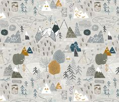 Max's Map (grey) fabric by nouveau_bohemian on Spoonflower - custom fabric
