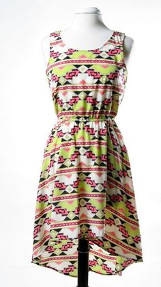 Green and Pink Tribal Print Hi Low Dress with Cinched Waist