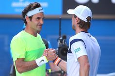 Roger Federer of Switzerland shakes hands with Andreas Seppi of Italy after Federer lost their third round match against during day five of the 2015 Australian Open at Melbourne Park on January 23, 2015 in Melbourne, Australia.