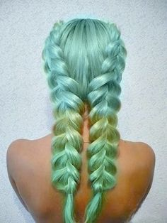 green and blue braid braids