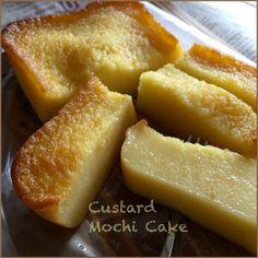 My Mind Patch: Custard Mochi Cake 吉士糯米糕 Custard Mochi Recipe, Butter Mochi Cake Recipe, Custard Cake, Sweet Rice Flour Recipe, Rice Flour Recipes, Rice Cake Recipes, Baking Powder Ingredients, Milk Ingredients, Sushi Recipes