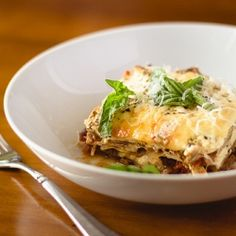 Ricotta Moussaka, the Greek equivalent of lasagna. Layers of meltingly soft eggplant slices and tomato meat sauce.
