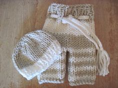 Striped Knit baby pants with drawstring and by bebebeecouture, $30.00