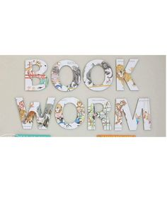 """book worm"" vintage storybook letters by J&J Design Group"